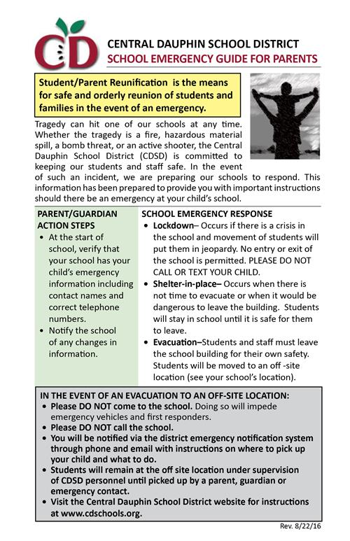 School Emergency Guide for Parents